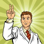 Male fingers of a hand shows the number one, pop art retro vector illustration. victory