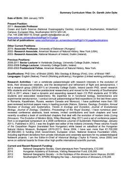 Dr Gareth Dyke example CV thumbnail